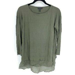Eileen Fisher 100% Silk Chiffon Hem L/S Tunic Top